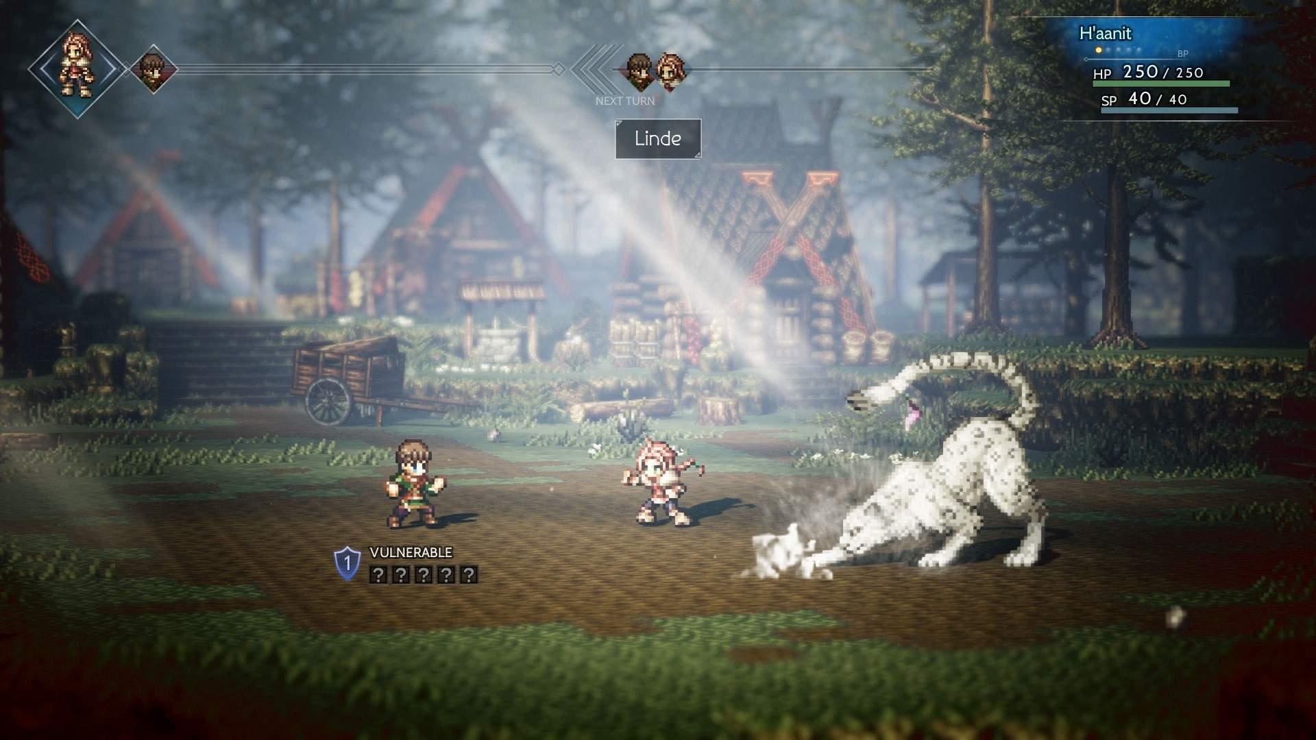 Der Screenshot zeigt H'aanit im rundenbasierten Kampf auf einer Farm.