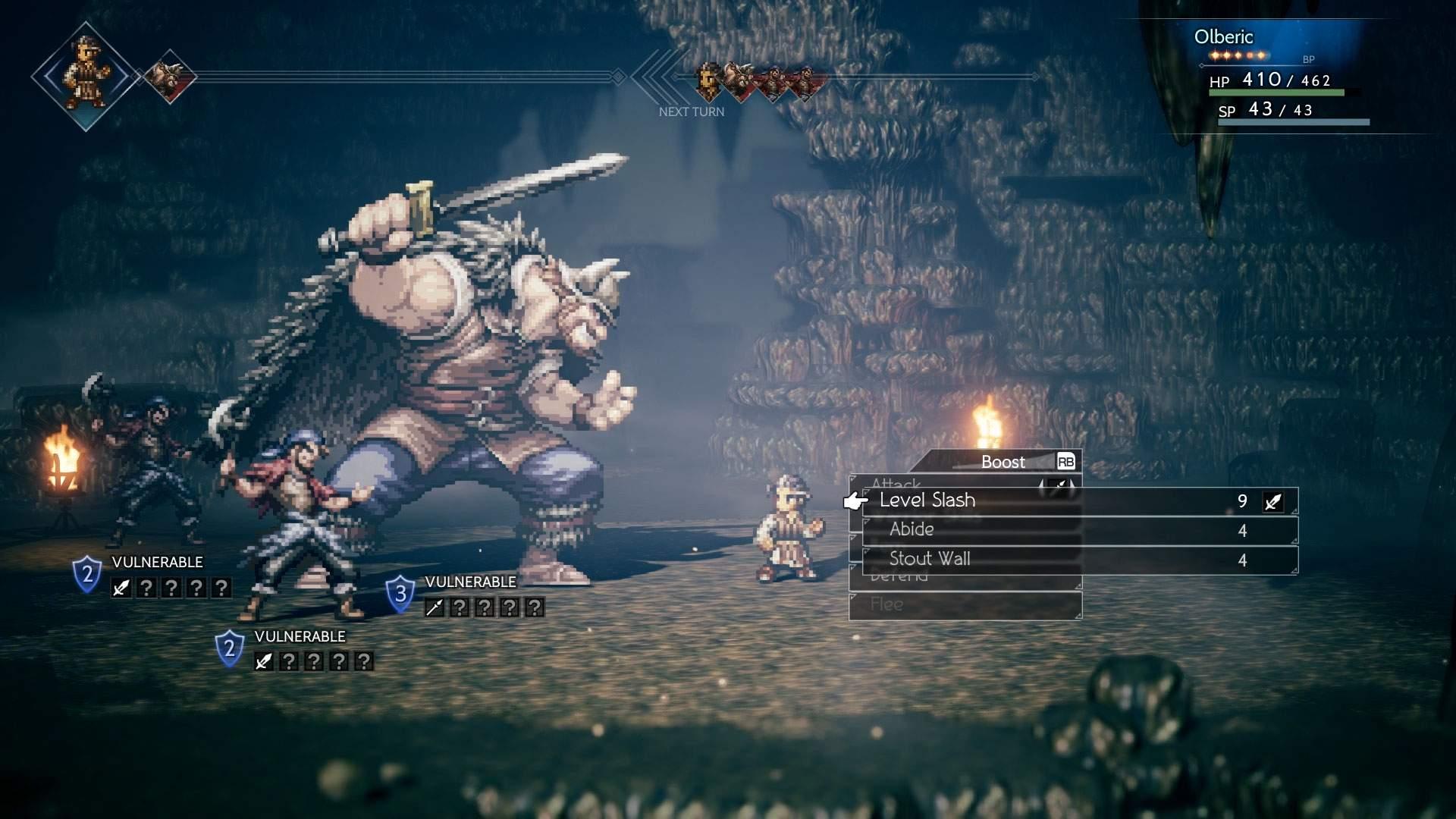 Der Screenshot zeigt Olberic, der es im rundenbasierten Kampf in einem düsteren Dungeon mit drei Gegnern aufnimmt.