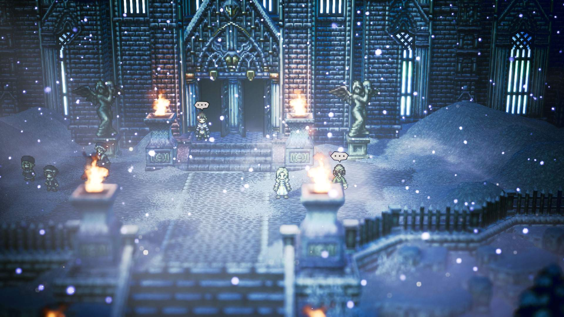 Gameplay screenshot showing Ophilia standing outside a large manor in town as it snows heavily.