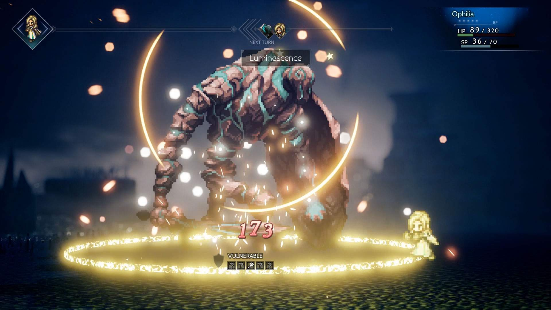 In game battle screenshot showing Ophilia casting an attack on a large monster in dark environment
