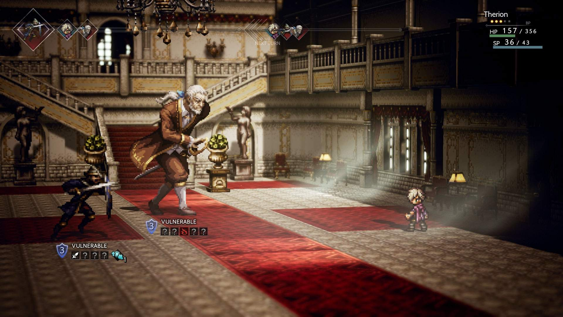 In game battle screenshot showing Therion in turn based battle against two enemies in a large manor