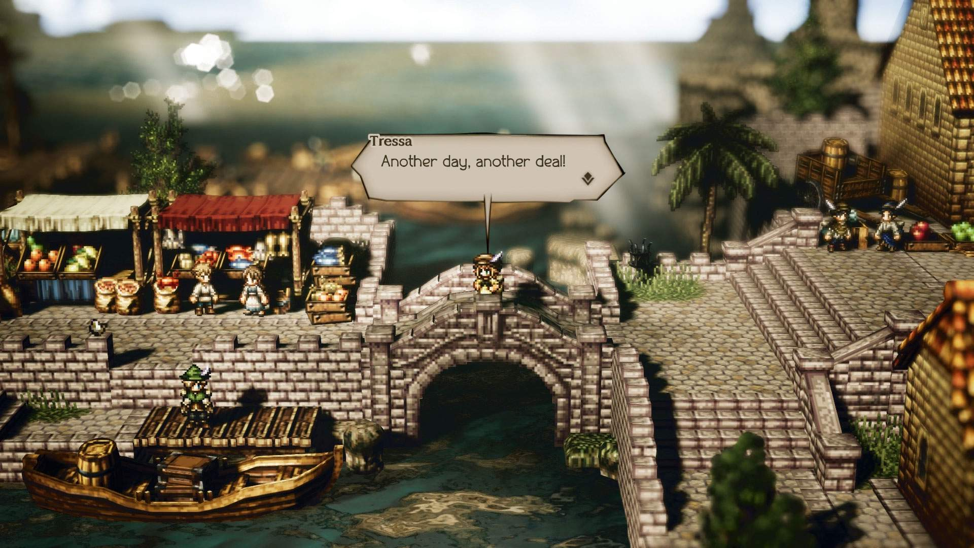 Gameplay screenshot showing Tressa standing on a bridge in the middle of a medieval-style town.