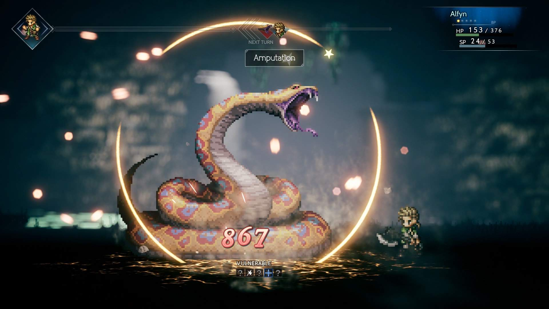 In game battle screenshot showing Alfyn using an attack on a large serpent-like monster in a dungeon