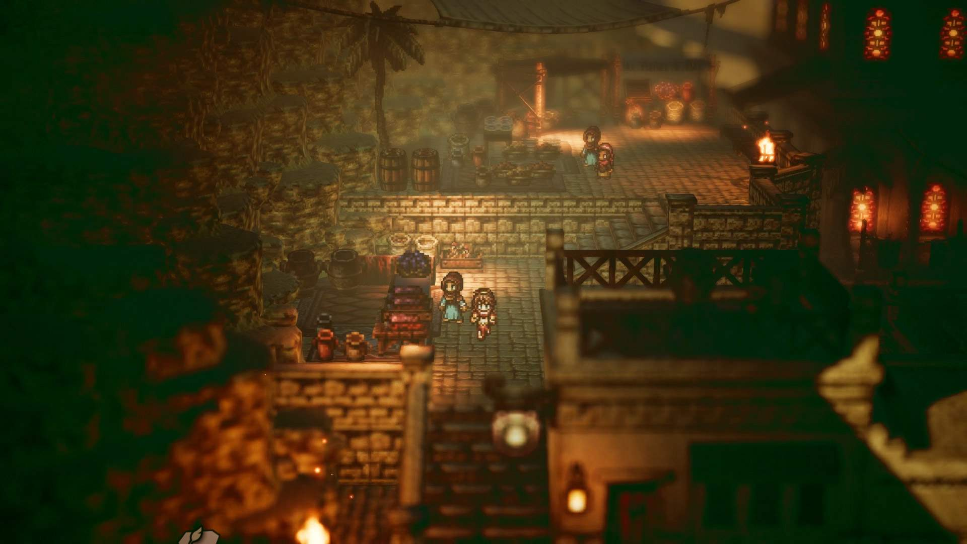 Gameplay screenshot of Primose passing another character in the middle of a medieval-style town