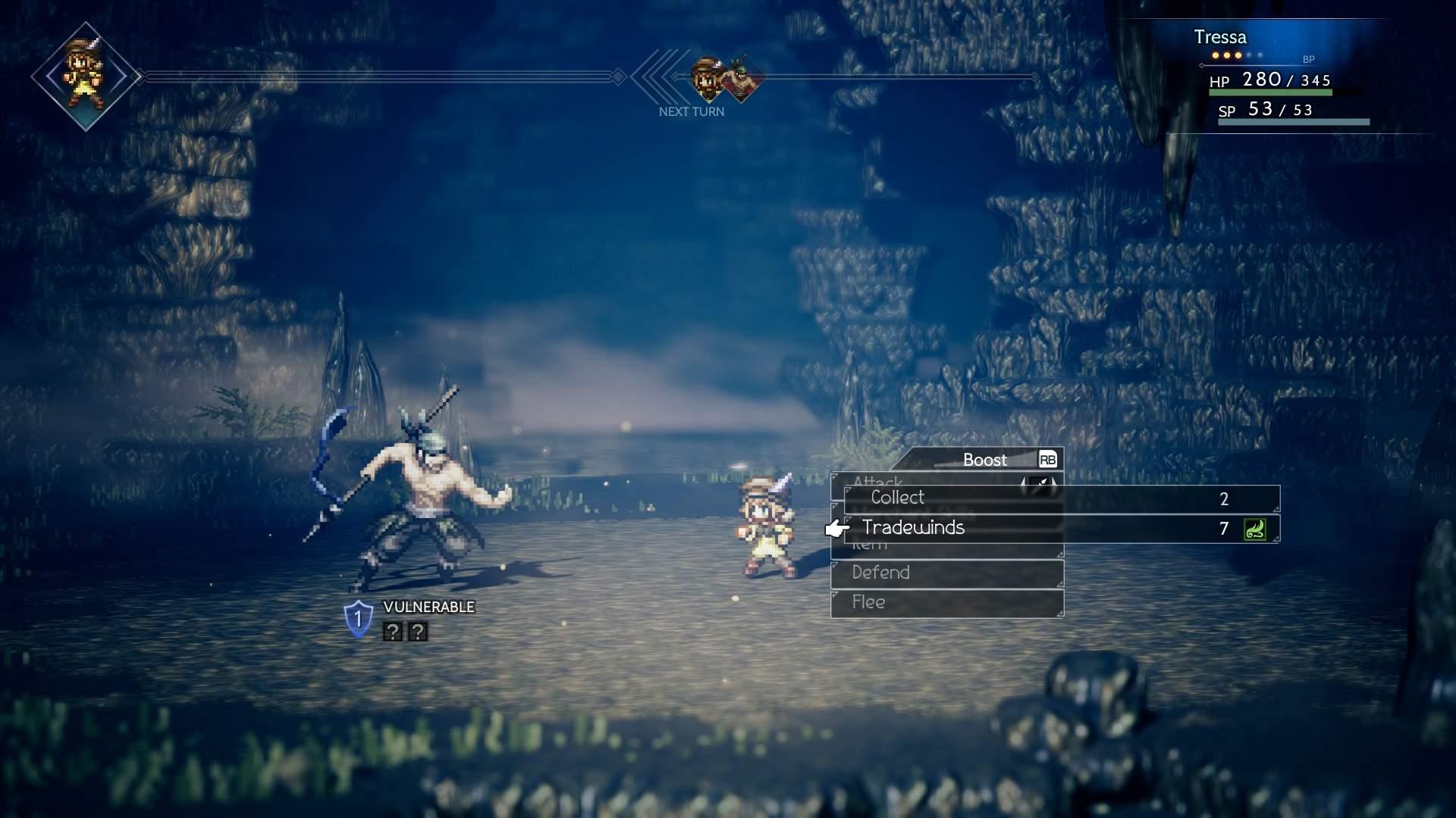 In game battle screenshot in a dark dungeon, showing Tressa in turn based battle against an enemy.