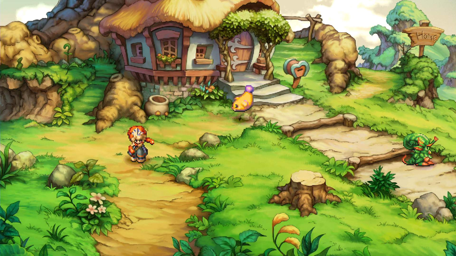 Legend of Mana HERO leaves home and is walking down a path