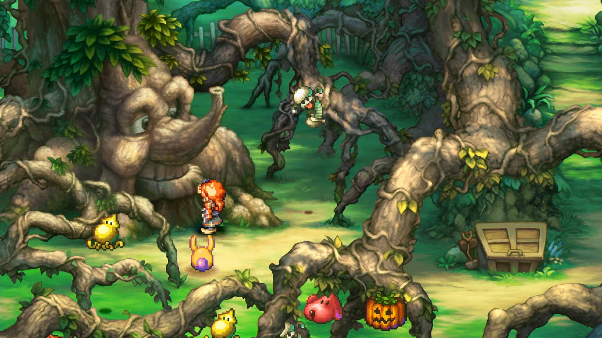 The Legend of Mana hero is standing in the Mana Orchard, in front of Trent.
