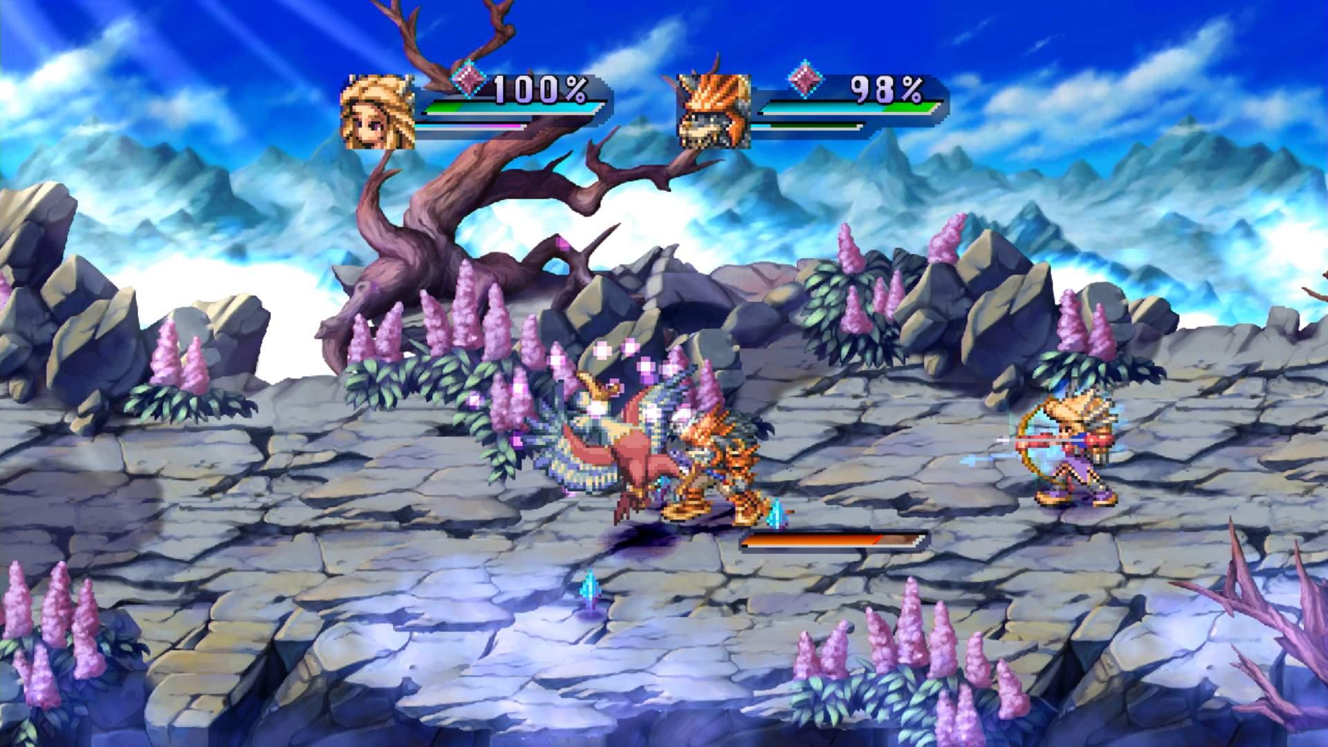 Écran de combat du jeu Legend of Mana, le groupe affronte un monstre en terrain dégagé