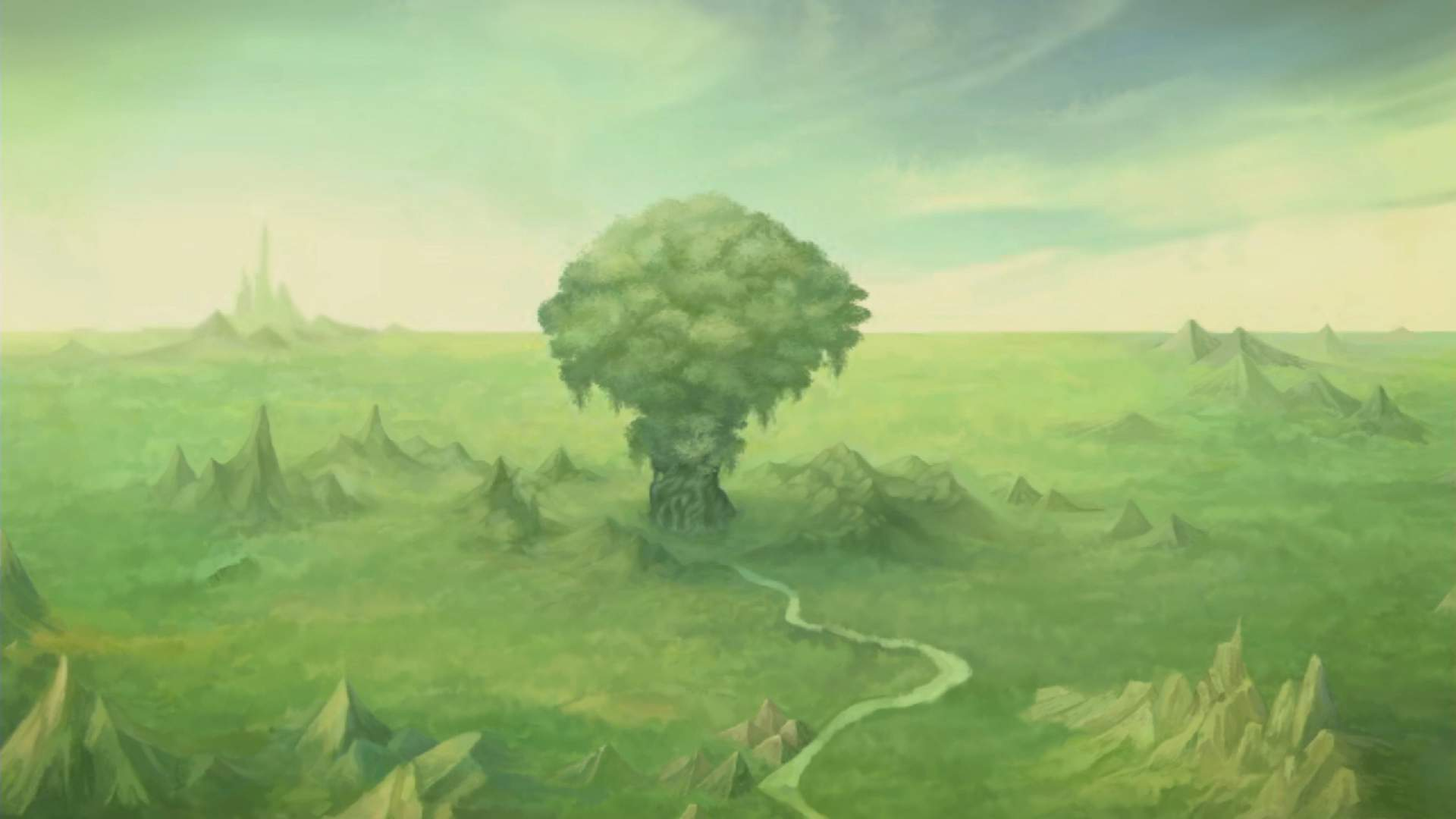A far shot showing the Mana Tree in the centre of a green landscape.