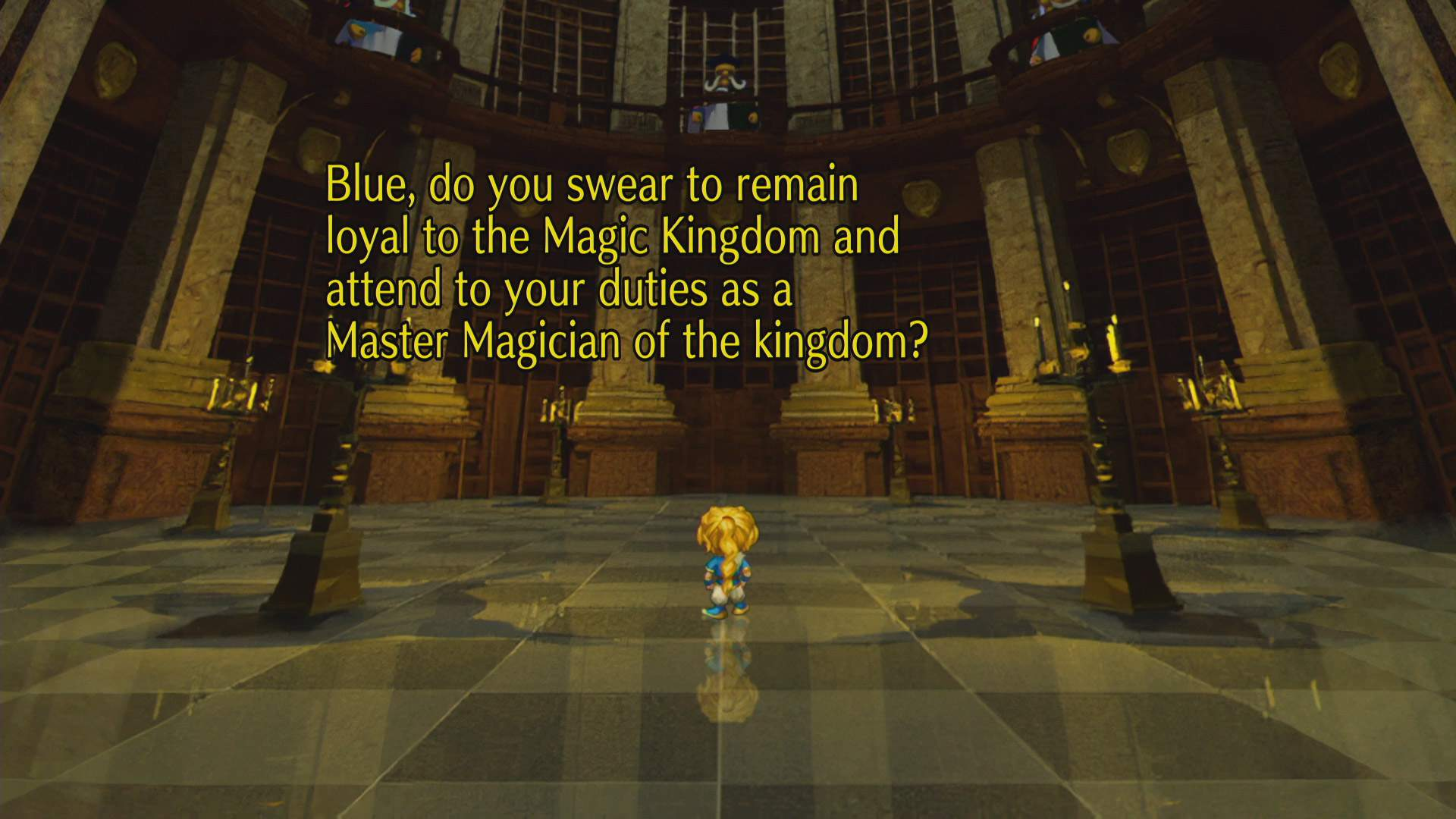 SaGa Frontier Remastered character BLUE stands in the center of a room, with characters above looking down on him. There are on-screen game dialogue lines.