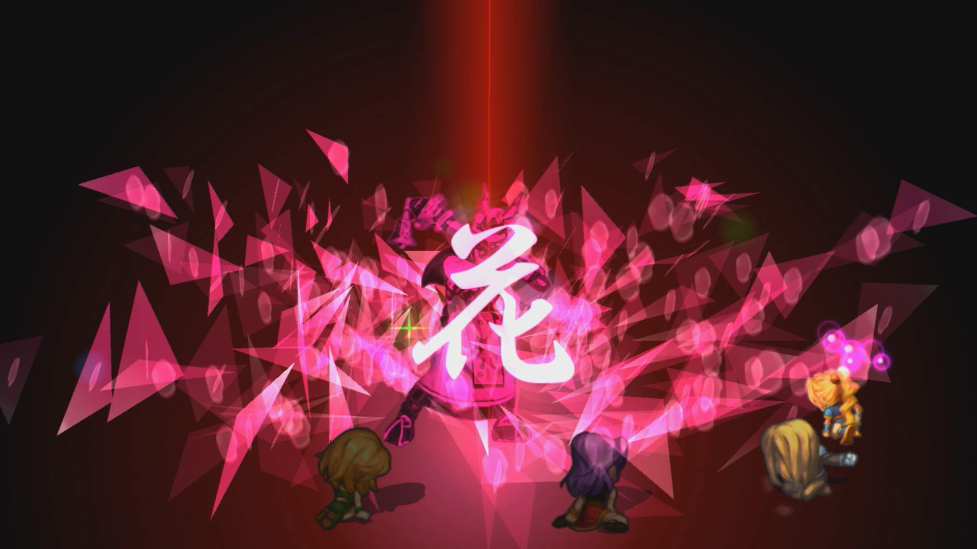 SaGa Frontier Remastered battle screen showing 4 characters at the front, using a move on an enemy. The move effect shows pink fragments with a Kanji character in the centre.