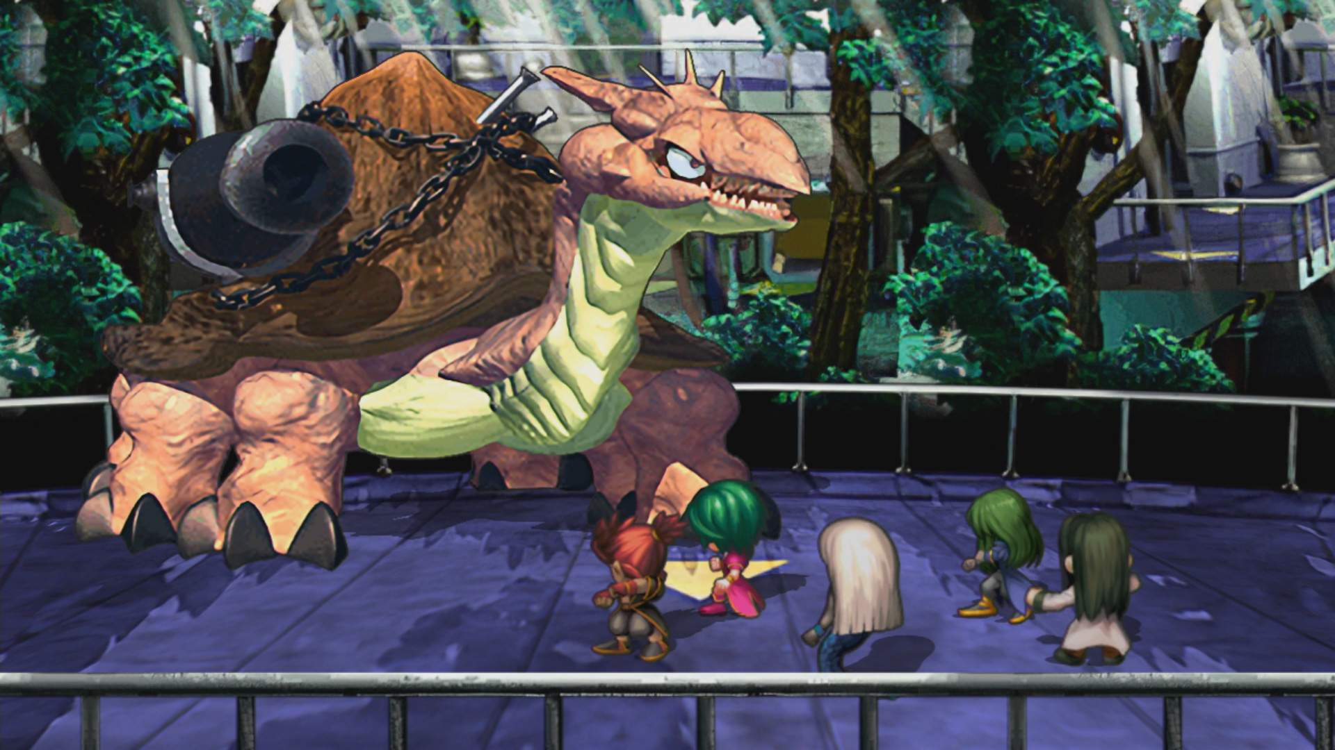 5 characters from SaGa Frontier Remastered face off against a large monster in a laboratory.