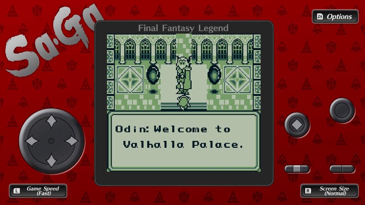 Collection of SaGa: Final Fantasy Legend gameplay shown in a old style game console frame. The gameplay shows a dialogue sequence.