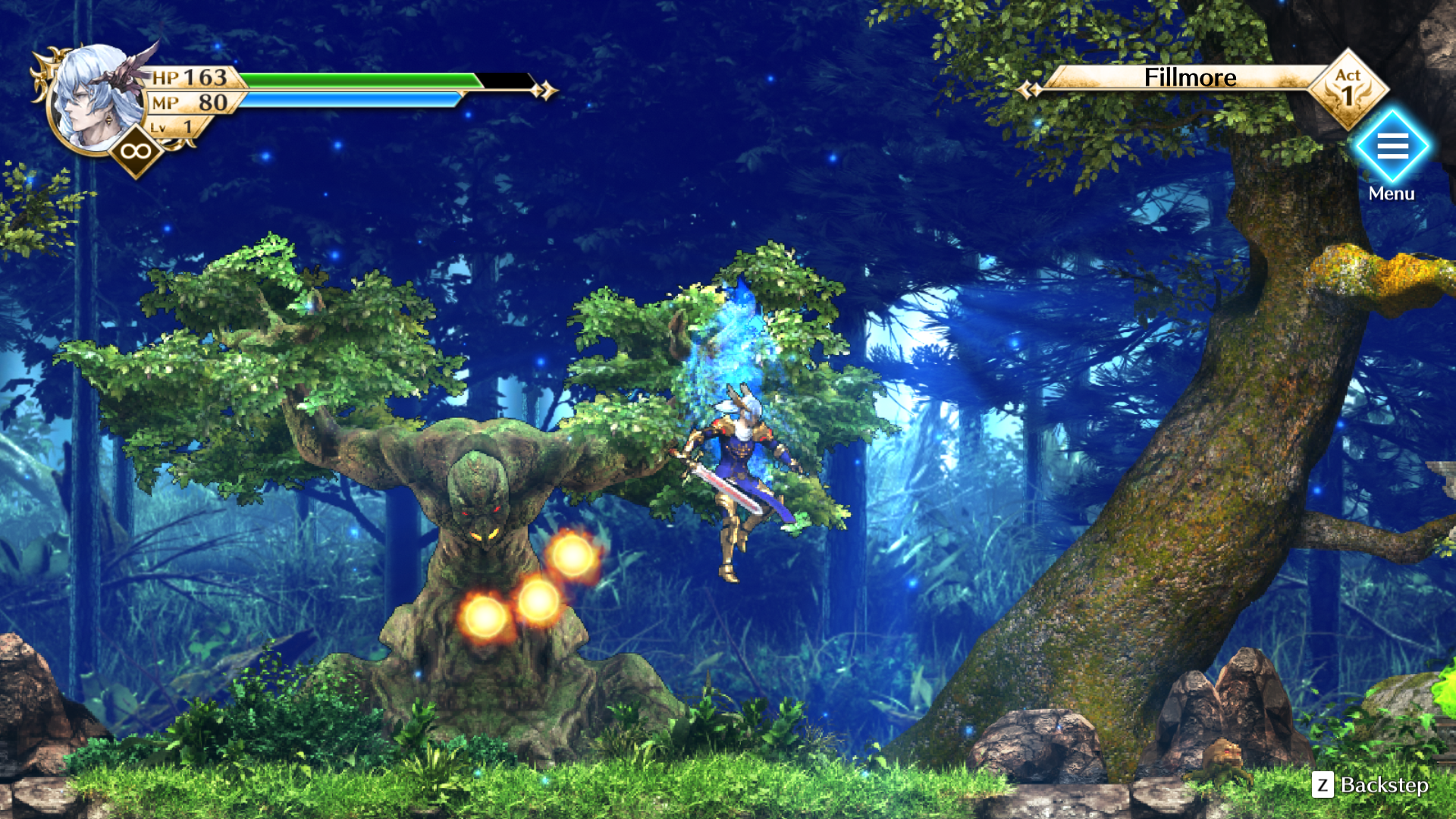 Gameplay screenshot of the Actraiser Renaissance protagonist in a battle against an enemy.