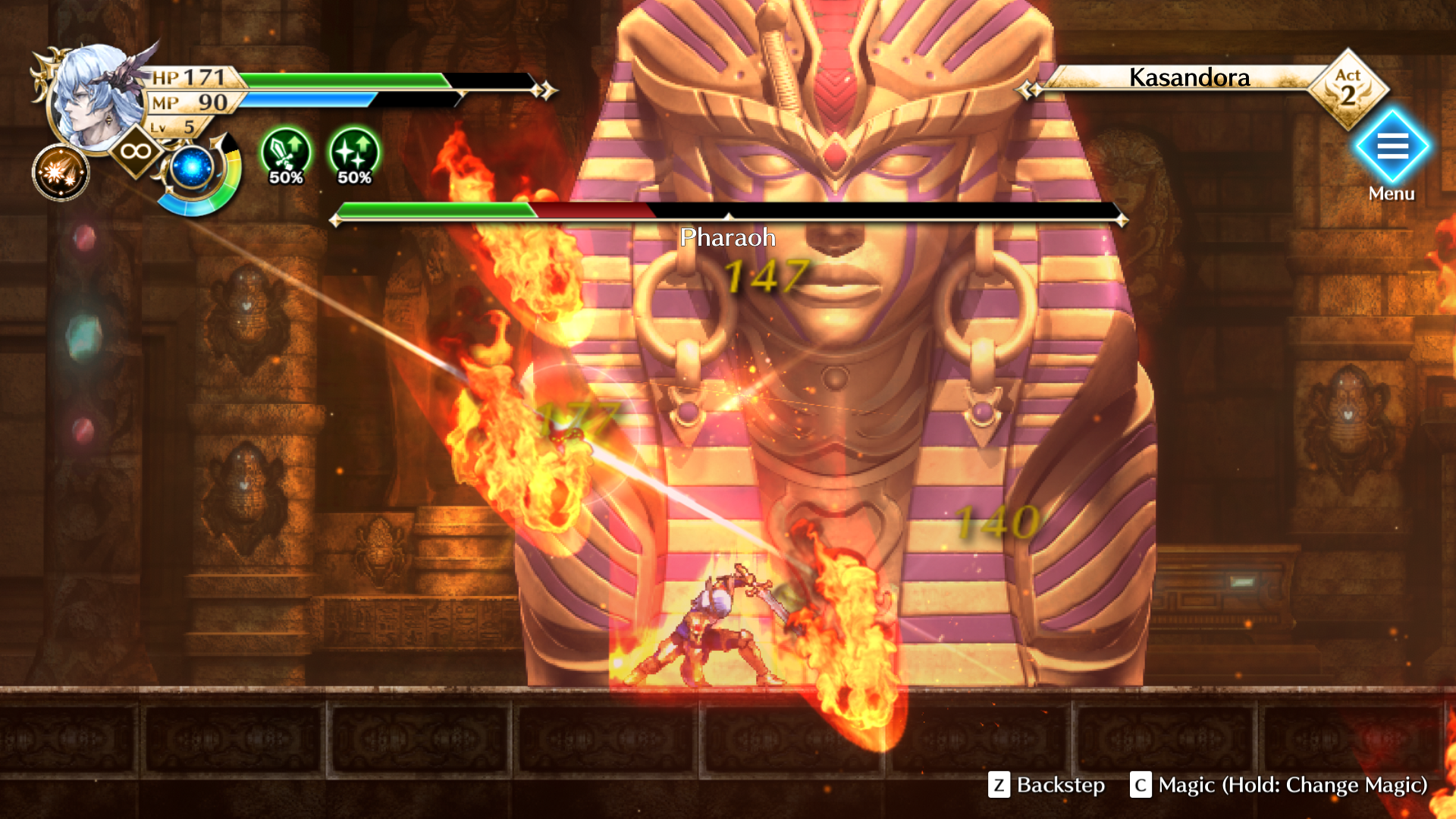 Gameplay screenshot of the Actraiser Renaissance protagonist in a battle against a Pharaoh enemy.
