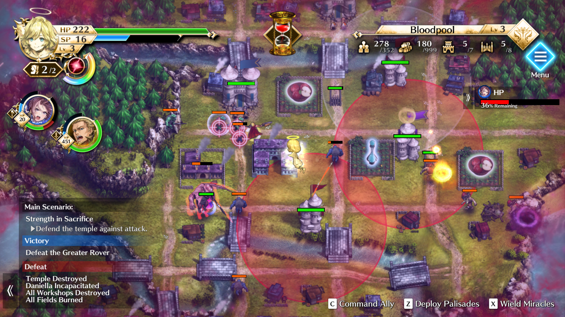 Gameplay screenshot of Actraiser Renaissance, showing a settlement being defended against enemies.