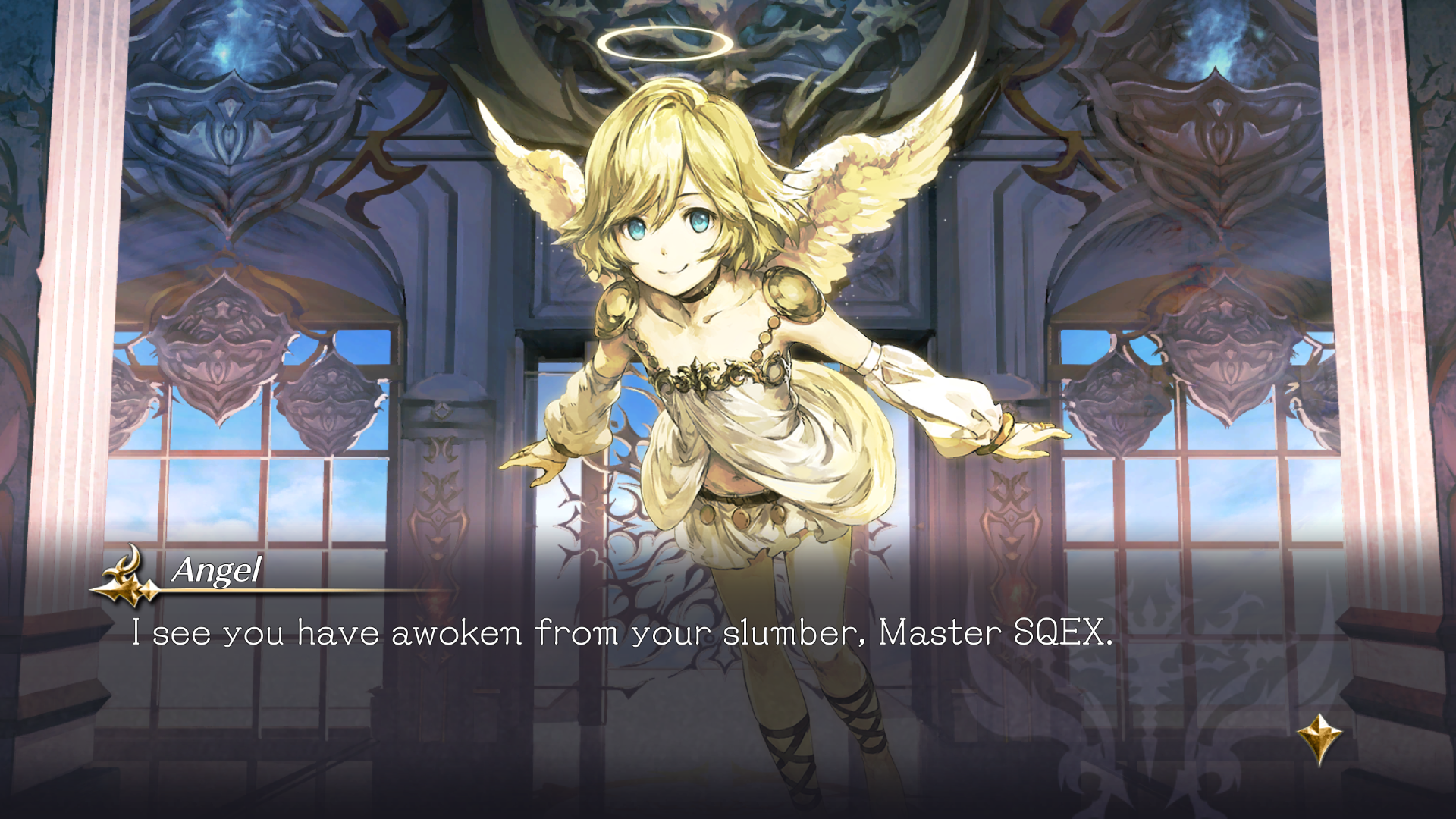 Gameplay screenshot of Actraiser Renaissance showing the Angel and dialogue text.