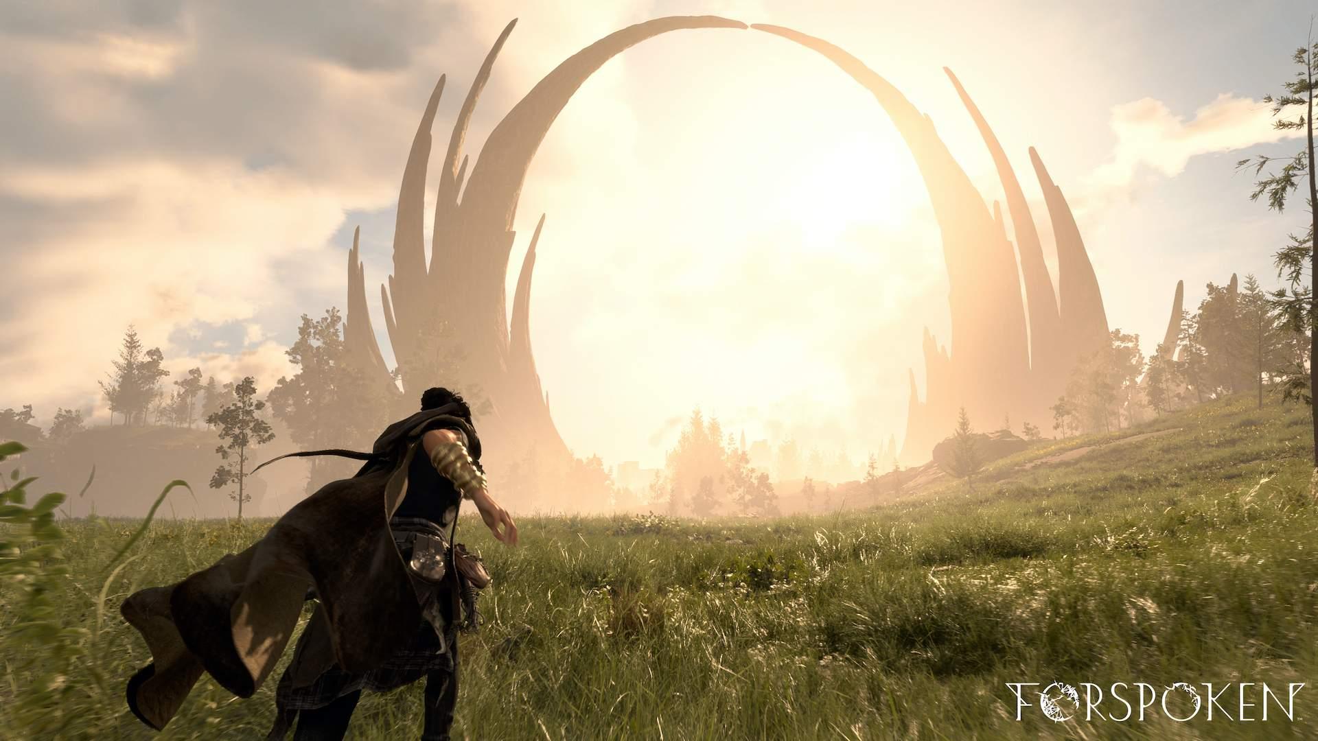 Forspoken Screenshot von Frey, die durch Landschaft läuft