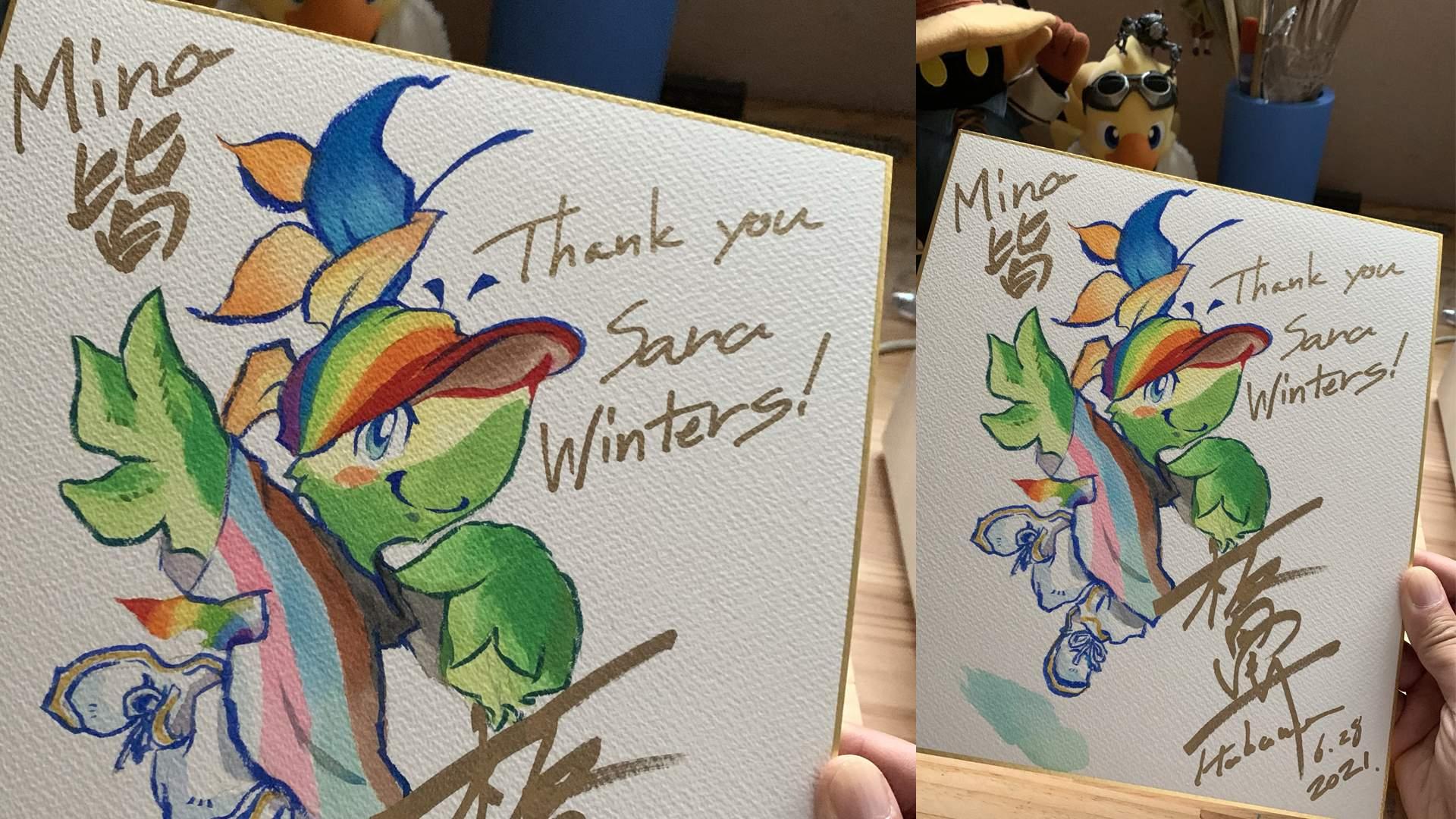 Pride-Maskottchen Mina auf der Grußkarte an Sara Winters