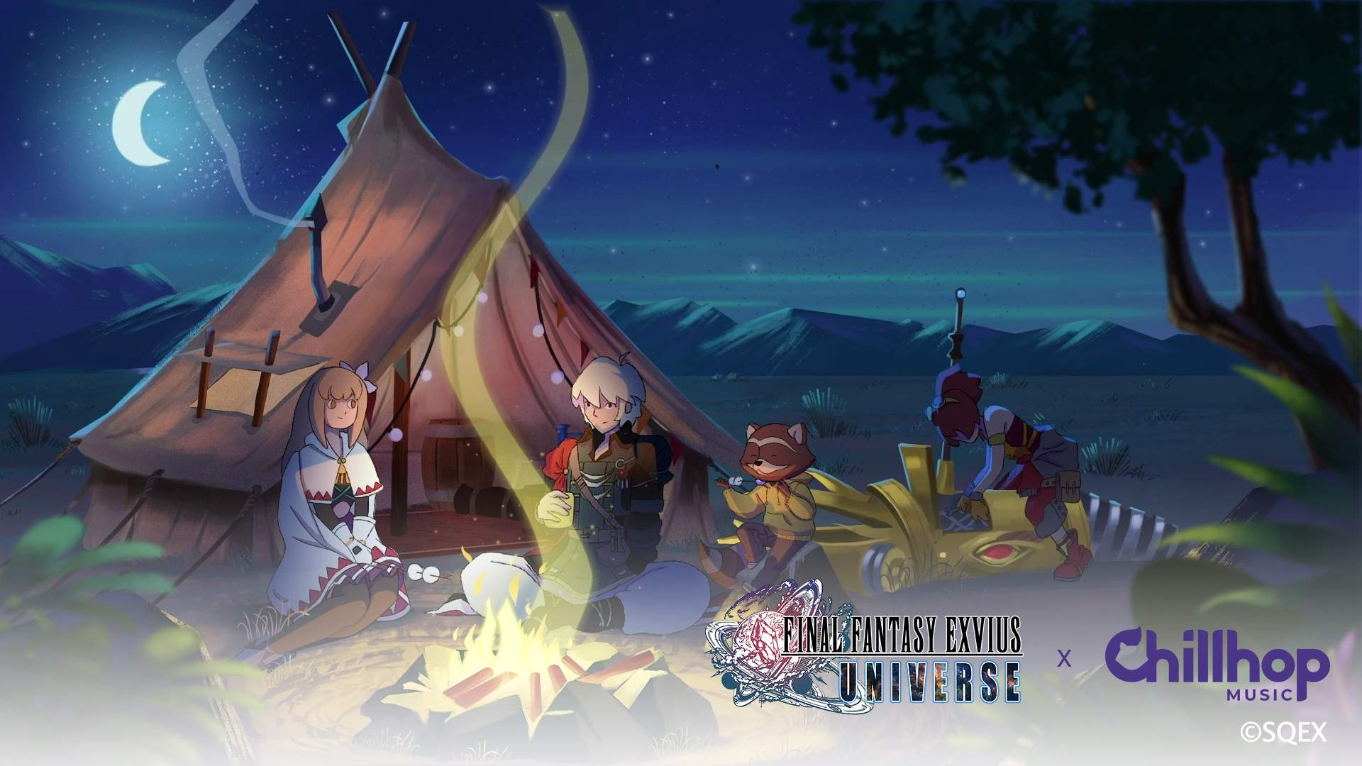 Fina, Rain, and Lid from FINAL FANTASY BRAVE EXVIUS sit at campfire with The Chillhop Music Raccoon