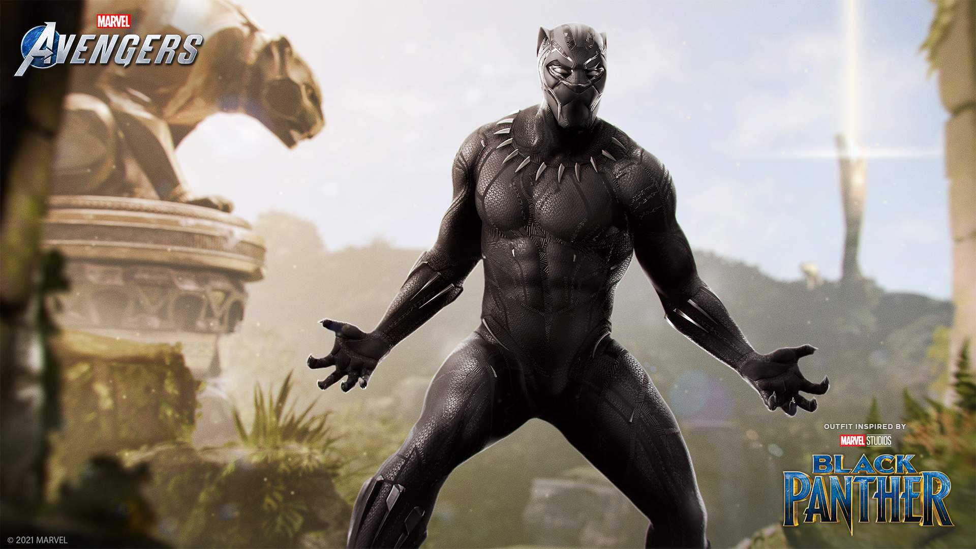 The Black Panther in his Marvel Cinematic Universe Outfit.