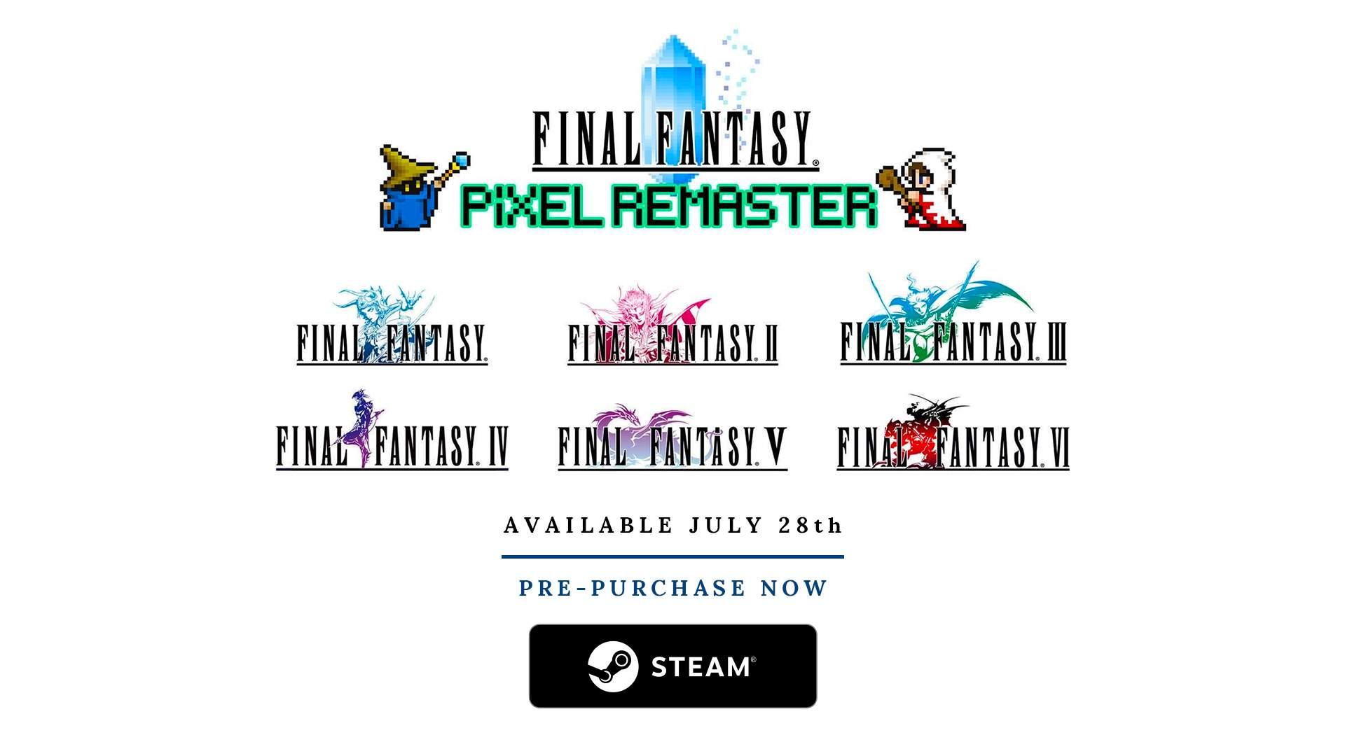 The FINAL FANTASY pixel remaster logo sits top center above FINAL FANTASY 1-6 logos