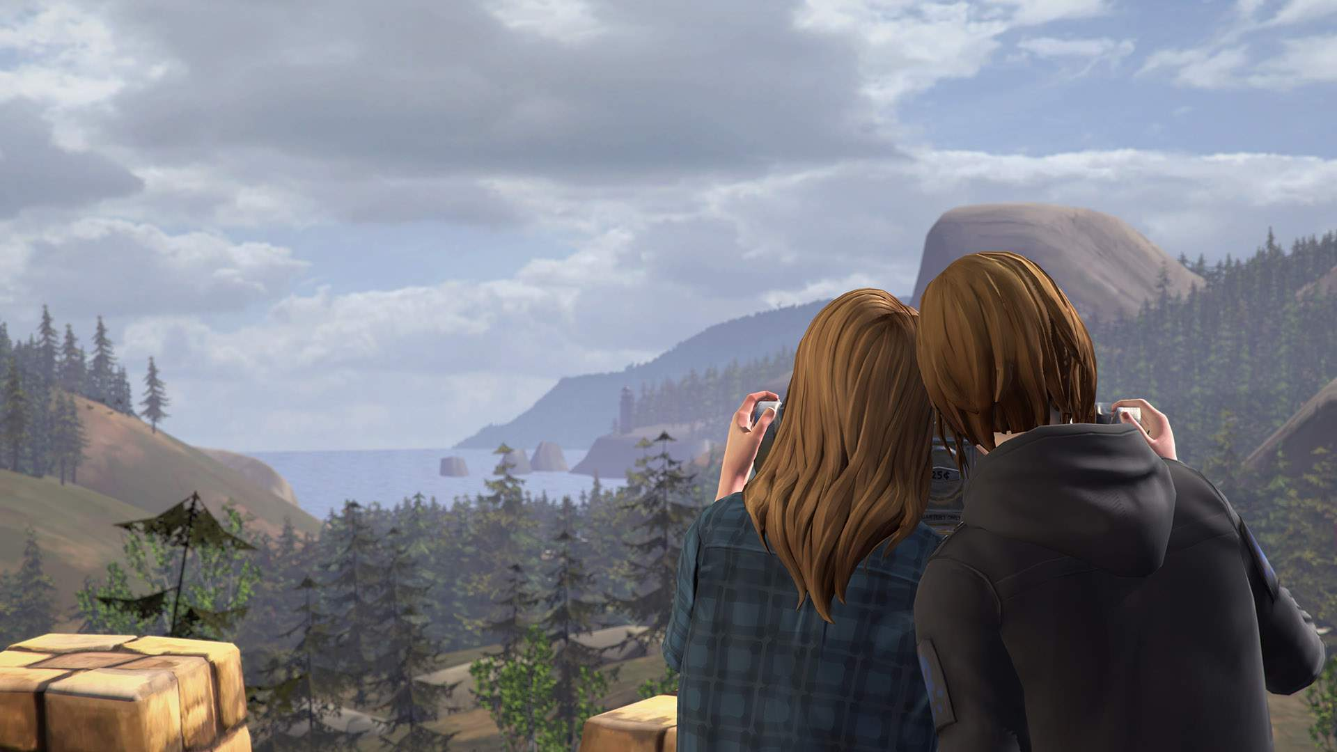 Rachel Amber and Chloe Price take in the stunning view of Overlook Park: trees, mountains, sea, and glorious sky.