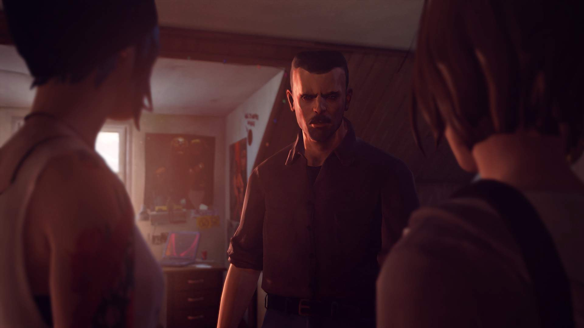 In Chloe's bedroom, Chloe's stepfather David sternly confronts Chloe and Max.