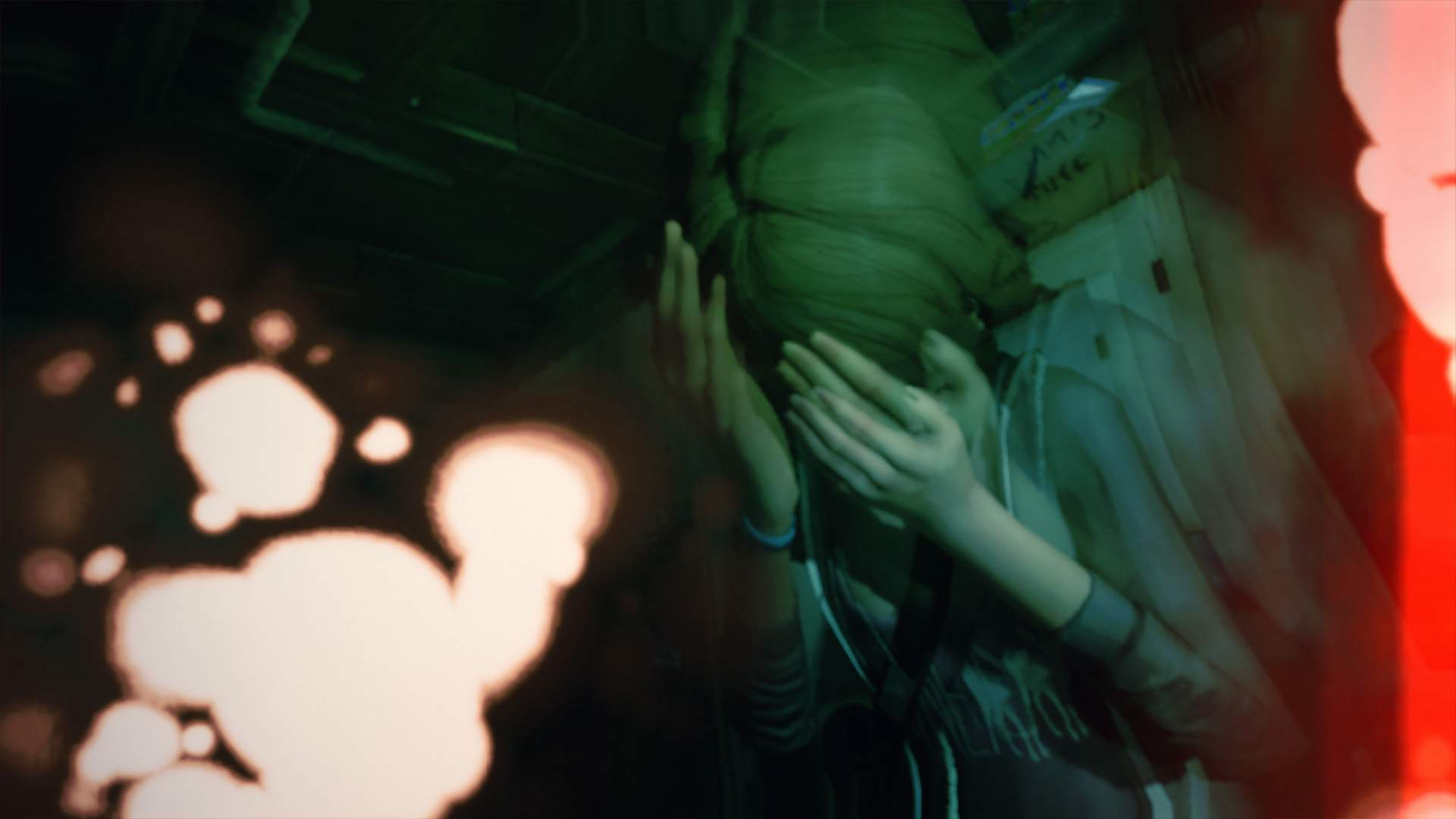 Max covers her eyes, in pain. Burn spots and double-exposures eat away at the image, which is coloured a sickly green.