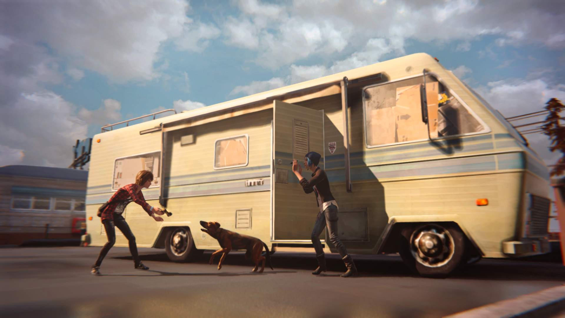 In front of Frank's RV, Max and Chloe attempt to calm down Frank's dog, Pompidou, before it can raise the alarm.