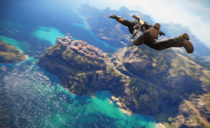 Rico Rodriguez falling from the sky towards the cliffs and sea