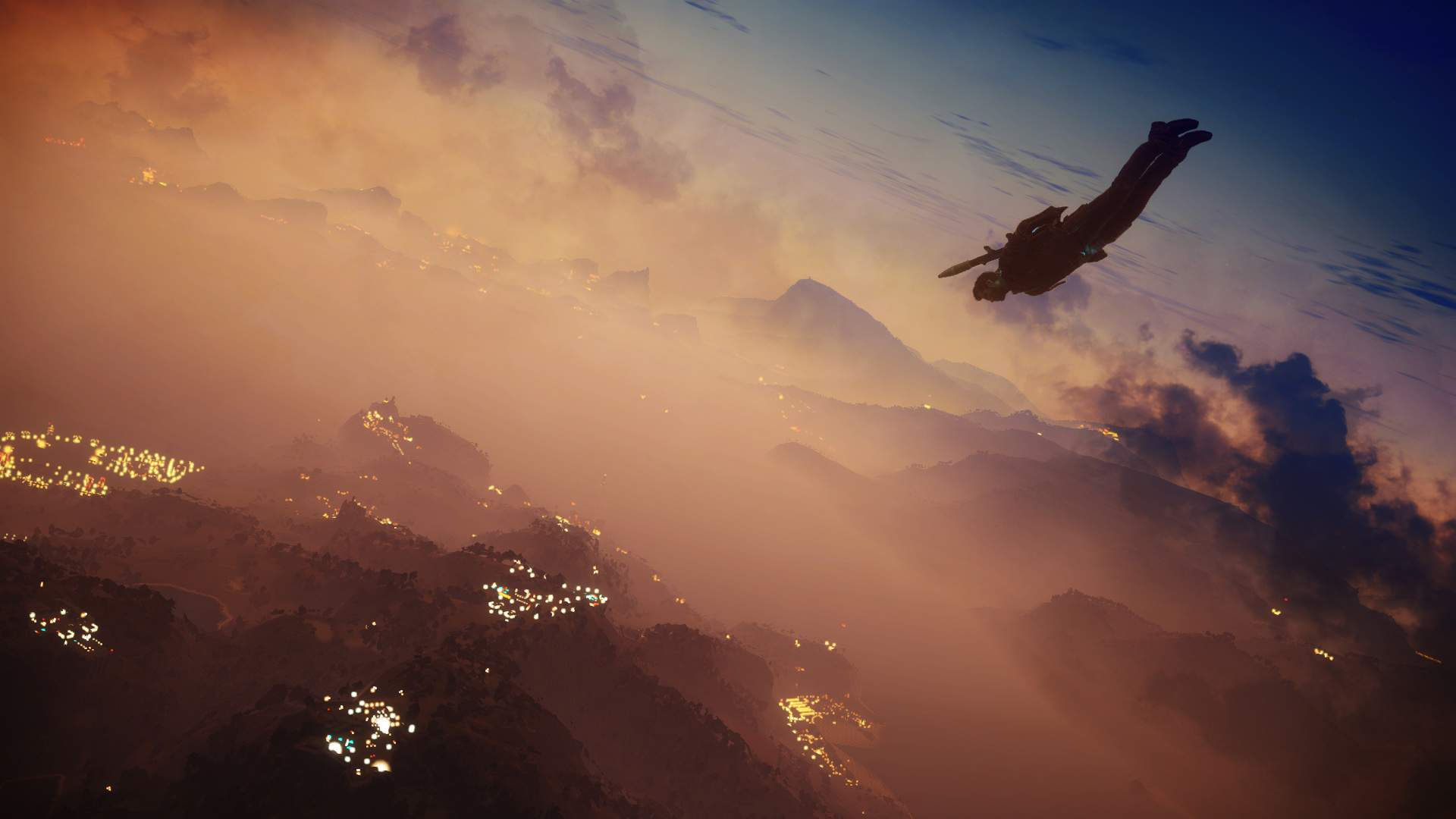 Rico Rodriguez dropping from the sky towards the ground during a sunset