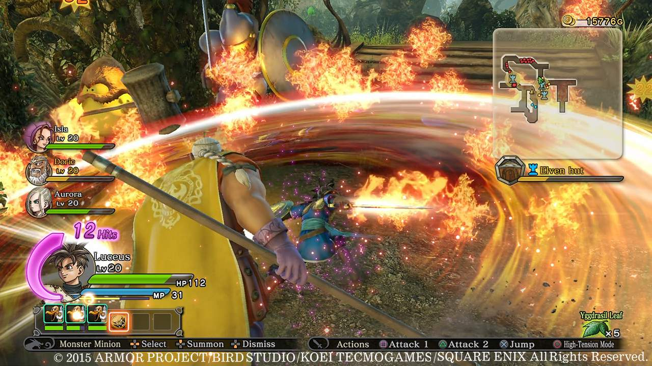 Luceus attacking monsters with fiery sword strike