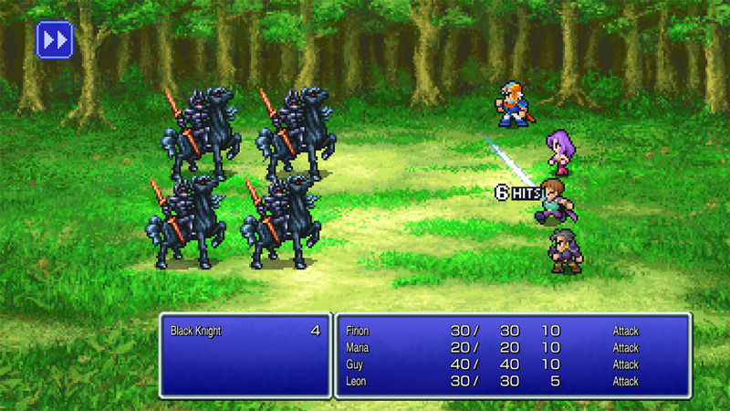 Battle gameplay showing the 4 protagonists of FINAL FANTASY II facing off against a group of Black Knights in a forest
